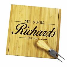 Custom Engraved Cheese Board Set - Personalized Kitchen Housewarming Wine Gift