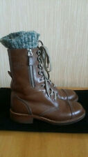 CHANEL Leather Brown Combat Boots Knitted Tweed Detail Size 36,5; US6-6,5