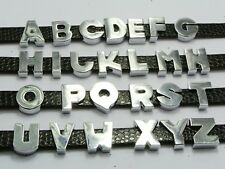 "26 Alloy Letter Beads Slide Charm ""A-Z""Fit 8mm Wristbands Watchbands"
