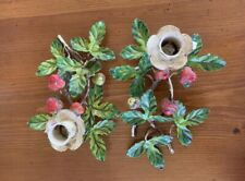 Antique Italian Toleware Strawberry Plant Candle Holders
