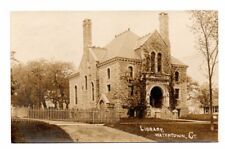WATERTOWN, CT ~ LIBRARY & SURROUNDINGS, REAL PHOTO PC ~ used c. 1910-20