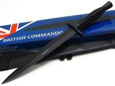 Black Grooved Handle Commando Straight Fixed Dagger Knife + Sheath PA2046Bk