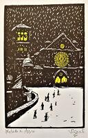 ASSISI CHRISTMAS Original PENCIL SIGNED Linoleum-Block Print Colored Woodblock