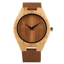 Modern Carving Life Tree Natural Wood Leather Band Men Sport Quartz Wrist Watch