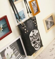 Skeleton head rivet black Handbag Messenger Bags Sling Flaps Shoulder Bag