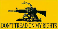 DONT TREAD ON MY RIGHTS Gadsden Snake Logo Yellow Vinyl Bumper Sticker