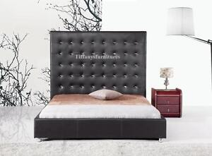 #4006 Gorgeous Modern Cal/Eastern king Size Black PU Leather bed