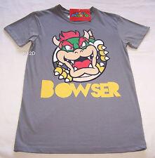Nintendo Super Mario Bowser Mens Grey Printed Short Sleeve T Shirt Size XS New