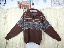 Vintage wool rich Norwegian style unisex tatty grunge festival jumper L  PB887