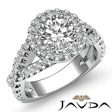 1.9ct Round Diamond Engagement Halo Italian Prong Ring GIA F VS2 14k White Gold