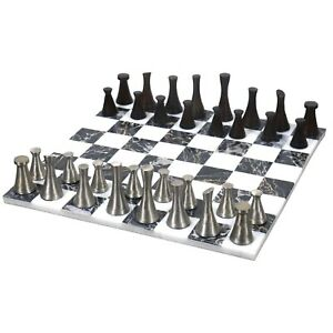 """3.1"""" Tower Series Brass Luxury Chess pieces with 15''Marble chessboard combo set"""