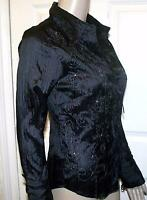 RRP £35 BEAUTIFUL BLACK & SILVER PER UNA @ M&S CRINKLE BLOUSE  TOP  8 10 12 14.