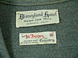Vintage 50s 60s Disneyland Hotel California V Neck Wool Sweater Disney Mens M