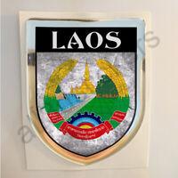Pegatina Laos Escudo de Armas 3D Bandera Grunge Resina Relieve Adhesivo