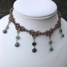 FACETED EMERALD DROP CHAIN MAIL MAILLE UNISEX NECKLACE ANY LENGTH