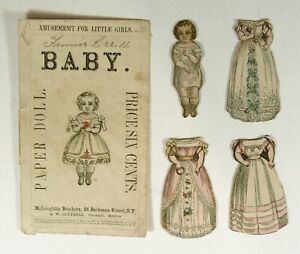 """ca1857 SET OF McLOUGHLIN BROS. PAPER DOLLS """"BABY"""" HAND COLORED PAPER DOLLS SET"""