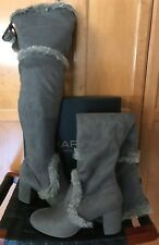 Gray Charles By Charles David Odom Faux Fur Trimmed Over-the-Knee Boot 8 $159