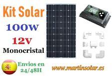 Kit placa panel solar 100w 12v monocristal, caravanas y campers.