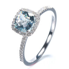 10K White Gold Pave Aquamarine Engagement Natural Diamond Ring Cushion Cut 6x6mm
