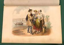 HAND COLORED PHILIPPINES HABITANS DE MANILLE COSTUME PRINT COLLIGNON LAFOND 1851