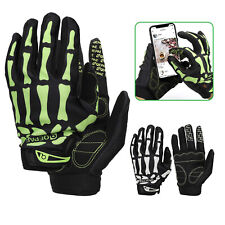 Biker Skeleton Bone Gloves Racing Cycling Motorcycle Mechanics Goth Full Fingers