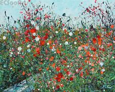 """New Original Abstract Wildflowers Painting """"Awakening"""" Artist Signed Red Meadow"""
