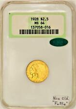 """1928 $2.50 Gold Quarter Eagle NGC MS-64 With CAC; Nice Old """"Fattie"""""""