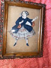 Antique Early Paper Doll Cutout In As Found Gutta Percha Oak Frame