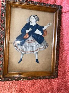 Antique Early Paper Doll Cutout  In As Found Gutta Percha Oak Frame