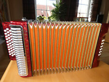 Hohner Corona II Knopfakkordeon in red (Harmonica, Handharmonika Accordion)