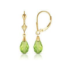 Tear Drop Shaped Peridot Dangle Drop Leverback Earrings 14K Solid Yellow Gold