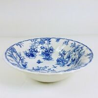 """Churchill 9"""" China Vegetable Serving Bowl Toile Blue Scalloped"""