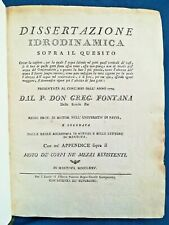 Fontana, Dissertazione Idrodinamica. Matematica Scientifici Concorsi 1775 Ottimo
