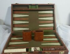 "Backgammon Game Faux Leather 20x15"" Tan Brown Brief Case 2 dice cups"