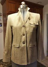 Ralph Lauren Riding Blazer Jacket Lined Camel Base Ivory&Brown Plaid EUC Size 6