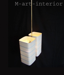 Jacques Biny Double Perforated Metal Cube Ceiling Lamp Pendant France 1950´s