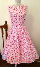Handmade 50s vintage style dress size 18 pink flowers full circle