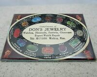 Vintage  Winthrop MN Celluloid Pocket Mirror Dons Jewelry advertising gemstones