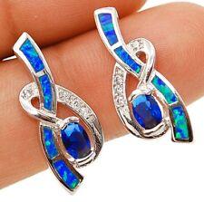 Blue Sapphire & Australian Opal Inlay 925 Solid Sterling Silver Earrings Jewelry