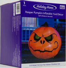 Gemmy Halloween 5 ft Wide LED Reaper Pumpkin Yard Airblown Inflatable NIB