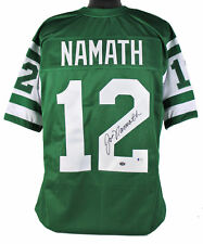 Chorros De Joe Namath Auténtico Firmado Autografiado Bas Jersey Verde