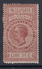 1920 MARCHE DA BOLLO VIDIMAZIONE PASSAPORTI 2 LIRE G.I MNH** FRESCA CON PIEGA
