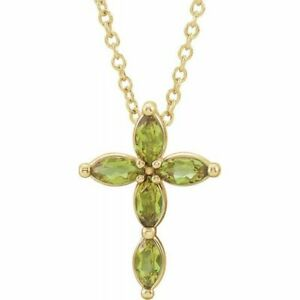 """Genuine Marquise Peridot Cross 16-18"""" Necklace In 14K Yellow Gold"""