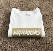 Custom Golden State Warriors Gold And White Box Logo T Shirt Men's XL