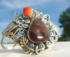 VINTAGE STERLING FIRE AGATE CORAL CUFF NATIVE AMERICAN INDIAN BRACELET NAVAJO