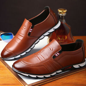 Business Mens Black Casual Leather Shoes Slip On Loafers Boat Shoes Moccasin NEW