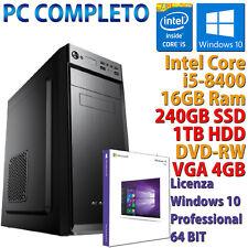 PC COMPUTER DESKTOP GAMING CORE i5-8400 RAM 16GB SSD 240GB + HDD 1TB RX 550 4GB