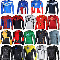 Super Héros Marvel Hommes T-shirt Compression Jersey Gym Haut Tenue de sport Top
