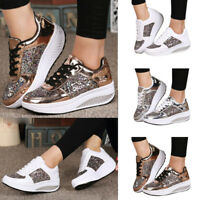 AU Womens Sneakers Metallic Lace Up Wedge Creeepers Trainer Platform Shoes Size