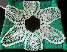 Vintage 60s 70s Crochet Crocheted Doily Brown & Cream Star-Shaped, Macrame Style